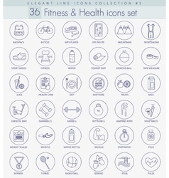 fitness and health Outline icon set vector image vector image