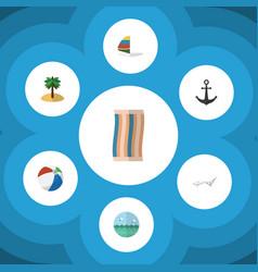 Flat icon season set of surfing wiper coconut vector