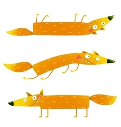 Fox animal character fun cartoon set for kids vector