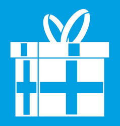 Gift in a box icon white vector