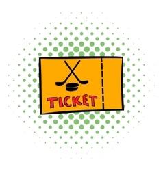 Hockey tickets icon comics style vector