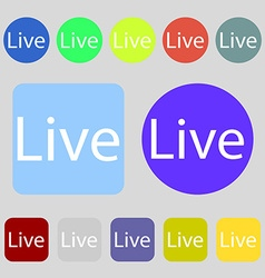 Live sign icon 12 colored buttons flat design vector