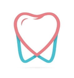 Logo combination of heart and tooth vector image
