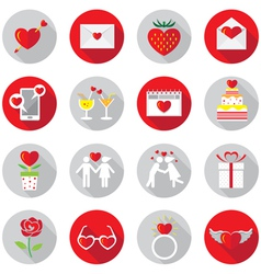 Love Objects Flat Icons Set vector image vector image