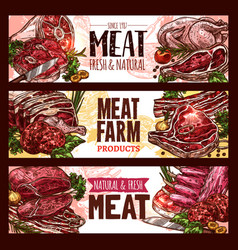meat fresh cut of beef and pork sketch banner set vector image vector image