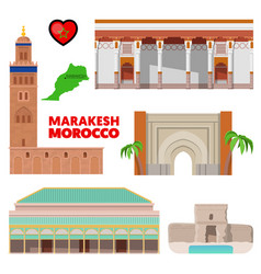 morocco marakesh travel set with architecture vector image