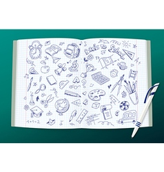 Open copy book with school drawings and a pen vector