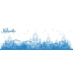 Outline Helsinki Skyline with Blue Buildings vector image vector image