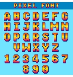 Pixel 8 bit letters and numbers game font vector