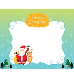 Santa And Reindeer On Border vector image