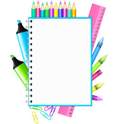 school frame with colorful stationery vector image vector image