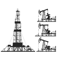 Set of oil pumps and rig silhouettes vector image vector image