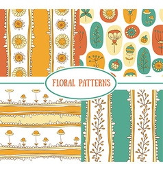 Set of seamless floral pattern vector image vector image