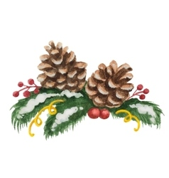 Watercolor christmas of fir tree vector
