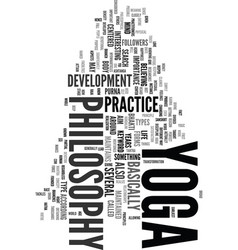 Yoga philosophy text word cloud concept vector