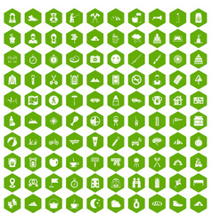 100 family camping icons hexagon green vector
