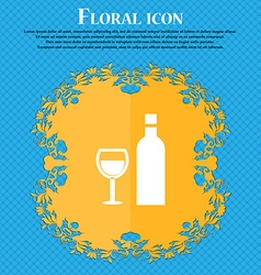 Wine icon sign floral flat design on a blue vector