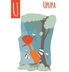 Vertical of upupa with colorful woods background vector