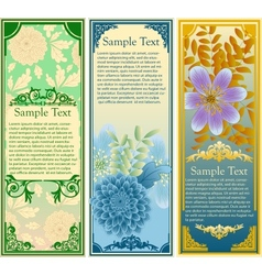Retro floral banners set vector image