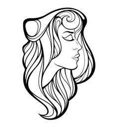decorative portrait of beauty woman with long vector image