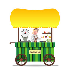 seller of vegetables on the market vector image
