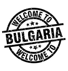 Welcome to bulgaria black stamp vector