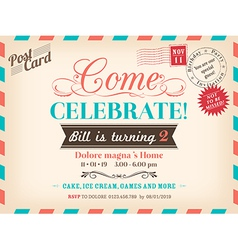 Vintage birthday card design vector