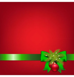 Xmas green ribbons with fir tree and ball vector