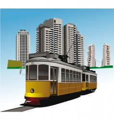 City and tram vector