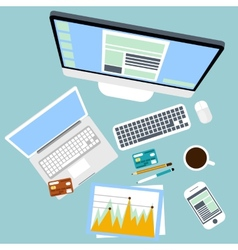 Top view of workplace with computer and devices vector
