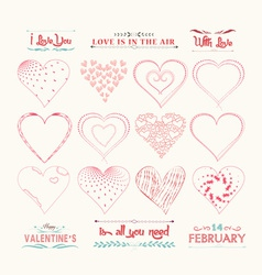 Set of valentine hearts for design vector
