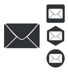 Letter icon set monochrome vector