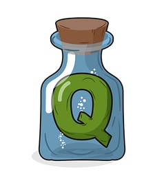 Q laboratory bottle letter in magical vessel with vector