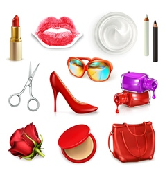 Red ladies handbag with cosmetics accessories vector