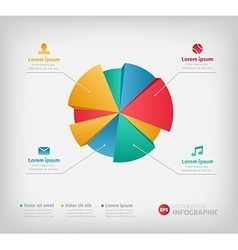 Modern 3d infographics pie chart for web or vector