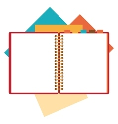 Flat design of open notepad paper sheets vector