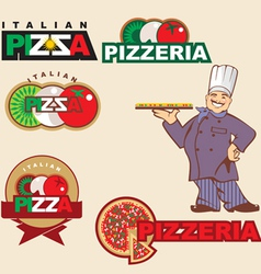Pizza label vector