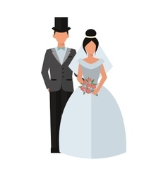Wedding couple people on white vector