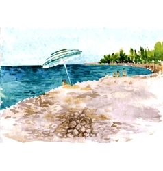 Beach with people and parasol vector