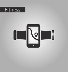 Black and white style icon smartphone for running vector