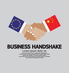 Business handshake-european union and china vector