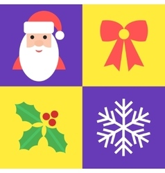 Christmas holiday symbols - santa bow holly and vector image vector image