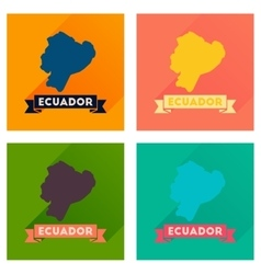 Concept of flat icons with long shadow Ecuador map vector image vector image