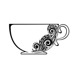 Cup decorated with black and white floral ornament vector