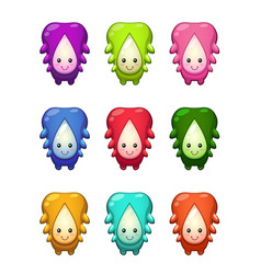Cute cartoon colorful alien characters set vector