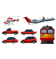 different designs of transportations vector image vector image