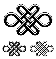 Endless celtic knot black white symbol vector
