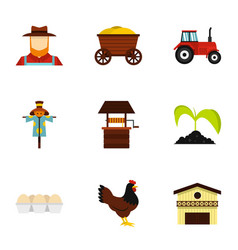 Farmer icons set flat style vector