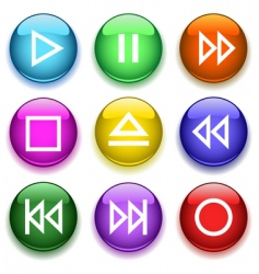 glossy buttons3player vector image vector image