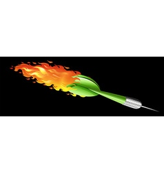 Green dart on fire vector image